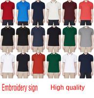 nach maß berühmtes kleid großhandel-2018 Verkäufe berühmte Business-Männer Shorts Hülse Polo-Shirts Beliebte Baumwolle Stickerei Weizen Polos Custom Designer Fred Hemden gemacht