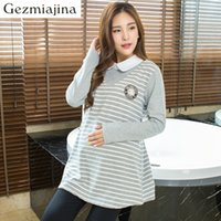 07f1bc91f3c New fashion Maternity dress fake two pieces shirt Spring autumn Maternity  sweater pregnant woman stripe blouse turn-down collar