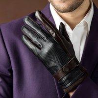 кожанные кожаные перчатки оптовых-2017 Осень мода новые мужские подлинная овчины кожаные перчатки козья кожа ремень кнопка черный плюс бархат теплые перчатки вождения