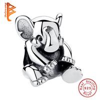 серебристый шарж из слонов оптовых-BELAWANG настоящее стерлингового серебра 925 слон подвески Fit Pandora браслет для женщин и детей DIY ювелирных изделий подарок на годовщину