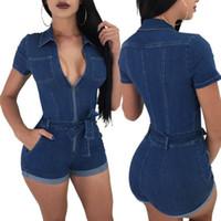 Wholesale leather shorts pants - Women summer Sexy Denim Jumpsuits Playsuits Slim Thin Piece Leather Pants Short Pants Rompers