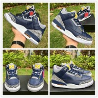 Wholesale halloween bowling - 2018 New 3 Michigan PE for Bowl Game Navy Cement Basketball Shoes Sports Original Quality 3s Men Sneakers with box Size 40-47.5