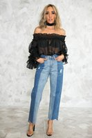 chemises en mousseline de soie noir achat en gros de-Nouvelle mode Sexy Perspective Top Chemise à manches longues en mousseline de soie avec col en V Les femmes de grande taille