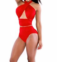 Wholesale Bathing Suits - Summer Women Bikini Swimwear Sexy Solid Black Red Bathing Suit Two Piece Set Bodysuit Size S-XL
