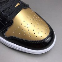 Wholesale Womens Basketball Shoes Size 11 - Free Shipping High OG Gold Toe Basketball Shoes Mens Womens Black White Metallic Gold Retro Sneakers Size 1 to 11