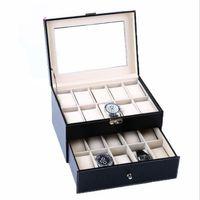 mode-displays großhandel-Mode Schwarz 20 Grids Slots Schmuck Uhren Display Aufbewahrungsbox Fall Uhren Container Organizer Box Kostenloser Versand