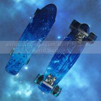 tablas de skate completos al por mayor-Galaxy Impresión completa Skateboard kaykay paten 22 griptape Retro Mini Skate tabla larga crucero longboard ruedas patins 4 rodas