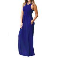 5ffedc541e4 Boho Long Summer Maxi 2019 Donne sexy senza maniche Tank Party Plus Size  XXL Pocket Casual Dress Robe GV596
