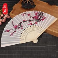 soie prune achat en gros de-6 pouces Plum Blossom soie ventilateur de mariage Souvenir main pliants fans classique Home Decor Arts de haute qualité 2 2sz Ww