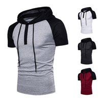 paçavra gömleği toptan satış-Yeni sıcak büyük boy raglan kollu kapşonlu placket karışık renk kısa kollu kapüşonlu T-shirt rahat nefes