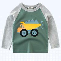 araba uzun kollu toptan satış-Toptan Yeni çocuk O Boyun Splice Gömlek Üst Erkek Bebek Uzun Kollu Sevimli Araba Baskı T-Shirt Sıcak Satış Çocuk giyim Ücretsiz Nakliye