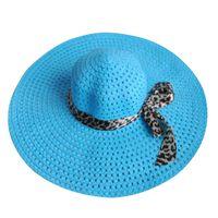ingrosso cappello blu cielo-Sky Blue Summer Exquisite Leopard Ribbon Bowknot decorato Openwork Sun Hat per le donne