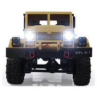 caminhão rastreador rc venda por atacado-Novo Design Wpl B -1 1: 16 Rc Caminhão Militar Mini Off-Road Car Rtr Suspensão de Metal Feixe / Led Brilhante 4wd Rc Crawler Presente Para O Menino Crianças