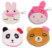 Wholesale Kawaii Panda Plush - Kawaii Cartoon Panda  SquirrelChildren Plush Coin Purse Zip Change Purse Wallet Kids Girl Women For Gift