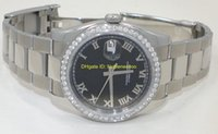 relógios mecânicos masculinos venda por atacado-Relógio de pulso Mens Watch 41MM PRETO ROMAN DIAL DIAMOND BEZEL Ref # 116234 116234 Homem 2813 Men's Mechanical Watche Watche