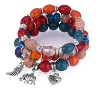 Wholesale united wings - 2018 New arrival United States Candy color beads Wings elephant bracelet stretch fashion Love letters bracelets diy snap bracelets NK 158