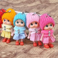 Wholesale toy clown dolls - 8CM Ddung Pendant Lovely Lattice Clown Ornaments Mobile Phone Small Dolls Toy For Children Room Decoration 0 6yg WW