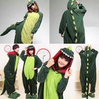 yetişkin dinozor pijama toptan satış-Sıcak Yeşil Dinozor Çocuk Yetişkinler Hayvan Kigurumi Pijama Cosplay Pijama Kostümleri Unisex