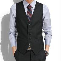 chaleco de algodón de boda para hombres al por mayor-Nuevo vestido de boda de alta calidad de productos de algodón hombres de moda diseño chaleco de traje / gris negro de gama alta de negocios de los hombres chaleco de traje casual
