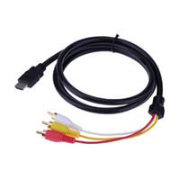 кабельные коробки hd tv оптовых-ALLOYSEED 1.5 M HD HDMI к 3RCA AV кабель позолоченный аудио кабель для компьютеров планшетных компьютеров телеприставки HD TV проекторы