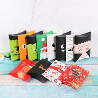 papel de regalo para galletas al por mayor-12 estilos Halloween Navidad caja de dulces de dibujos animados DIY papel bolsa de regalo fantasma Zombie modelado Container Party Decor Cookies caja de regalo FFA861