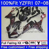yamaha r1 verkleidungen matt großhandel-Injektionskörper für YAMAHA YZF R 1 YZF-1000 YZF-R1 07 08 227HM.38 YZF 1000 YZFR1 07 08 YZF1000 Mattflammen heißer YZF R1 2007 2008 Verkleidungssatz