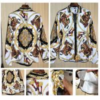 Wholesale baroque prints - 2018 Spring Medusa Silk Shirts Baroque Style cool T shirts Famous Brand Gold Chain Floral 3D Printed Long Sleeved Shirt arc Hem Poloshirts