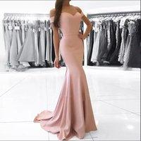 elegante einfache kleider großhandel-Elegante einfache weg-von-der Schulter-formale Abend-Kleider 2018 Günstige Meerjungfrau-Fußboden-Längen-Zipper Zurück-Abschlussball-Kleid erröten Rosa