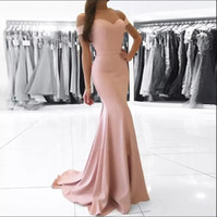 ingrosso elegante abito di rossore-Elegante semplice off-the-spalla abiti da sera formale 2018 economici sirena pavimento lunghezza chiusura lampo indietro Prom Dress Blush Pink