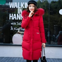 Wholesale Korean Girl Down Jacket - In the winter of 2017 Korean version of the new women's coat girls long slim big fur coat jacket padded down girl
