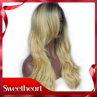 Discount wavy blonde lace wig synthetic - Hot Sexy Quality Ombre Blonde Long Natural Wavy Lace Front Wigs With Bangs Natural Synthetic Wave Hair Cheap Wigs For Women 180 Density