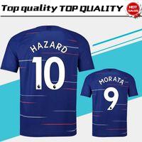Wholesale men s short sleeve - #10 HAZARD Home blue Soccer Jersey 18 19 #9 MOROTA #22 WILLIAN short sleeve soccer shirt 2019 #7 KANTE #4 FABREGAS Football uniforms Sales