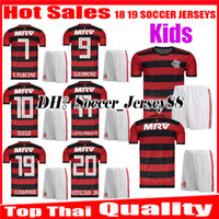 83363b7e702 Kids 2018 2019 Chandal Flamengo children soccer Jerseys kits 18 19 Brasil  Flemish home GUERRERO DIEGO ZICO VINICIUS JR kit football shirt