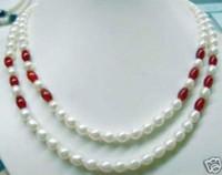 collar de perlas de rubí al por mayor-¡CALIENTE! Hermoso collar de perlas de rubíes de perlas blancas 7-8mm 2 filas