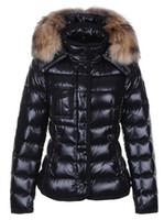 женский перьевой куртки оптовых-Классический бренд женщин зима теплая пуховик с меховым воротником перо платье куртки Женские открытый вниз пальто женщина мода куртка парки M1