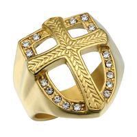 anéis da cruz do ouro dos homens venda por atacado-Moda Anel Cruz Micro Pave Cristal Chunky Praça Mens Anel Congelado Para Fora Bling IP Gold Filled Thick Titanium Anéis para Homens Jóias
