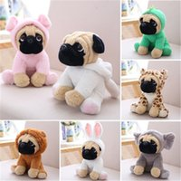 Wholesale Christmas Hat Dog - LilyToyFirm The SharPei Dog Doll Plush Toy Hat Dog Doll Simulation Belldog Pug Stuffed Animals Toys For Children gift