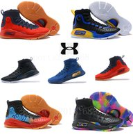Wholesale blue curry - High quality 2018 Stephen Curry 4 Basketball casual Shoes Mens Gold Championship MVP Finals Sports training Sneakers Run Shoes