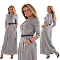 sonbahar kış maxi elbiseleri toptan satış-5xl Robe Sonbahar Kış Elbise Büyük Boy Zarif Uzun Kollu Maxi Elbise Kadınlar Ofis Çalışma Elbiseler Artı Boyutu Kadın Giyim toptan