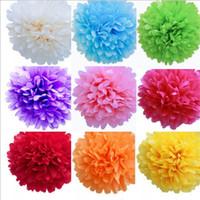 ingrosso bouquet di fiori di carta tissue-Fiore di carta velina Decorazione di nozze fiore artificiale Pom Pom Fiore colorato che baci Pompon Balls per la festa di nozze