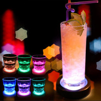 Wholesale Glass Bottled Drinks Wholesale - Color Changing LED Coasters Lights USB Rechargeable 5V Drink Glass Bottle Cup Coaster Mat Bar Party Xmas Gift