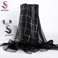 organza de seda negra al por mayor-[BYSIFA] Mujeres Negro Oro Plaid bufanda de seda del mantón de las señoras accesorios de moda marca 100% Organza de seda bufandas largas envuelve 190 * 70 cm S18101904
