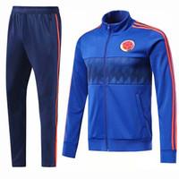 Wholesale blue suit jacket mens - AAA+ 2018 Mens Colombia Training Tracksuit Jacket Mens 18 19 Colombia Soccer Jacket Suit Set Soccer Tracksuit Blue Pants Sportwear