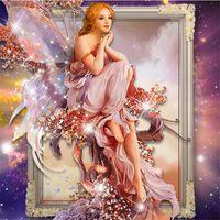 Wholesale magic girl figures resale online - Fashion Murals Butterfly Girl Pattern DIY D Diamond Paintings Lifelike Magic Square Round Drill Cross Stitch Creative cq B