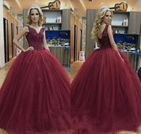 Quinceanera Prinzessin Prom Kleider Kaufen -Burgund Ballkleid Prom Kleider Sweet 16 Prinzessin Quinceanera Kleid Spitze Pageant Kleider Puffy Party Kleid Formal Graduation Kleider Plus Größe