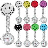 krankenschwester tunika uhr großhandel-Lächeln-Gesichts-Krankenschwester-Uhr-Edelstahl-Doktor-Brosche-hängende Taschen-Uhr-medizinische Tunika-Klipp-Quarz-Uhr