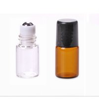Wholesale metal perfume vials - 2ML Empty Amber Roll-On Glass Bottle Metal Roller Ball Bottle Essential Oil Vials Perfume Liquid fragrance Small Sample Bottle
