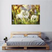 ingrosso bella pittura di cavalli-Canvas Painting Wall Art HD Stampa Home Decor 1 pezzo / pezzi Bella bianco cavalli Poster per soggiorno Poster animali