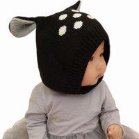 ingrosso cervo beanie baby-Cappello da bambino Inverno Caldo Bambini Cartone animato Cappello con berretto con orecchie Doppi strati Bambini Caldi Cappelli in lana Beanie Boy Girl Hat