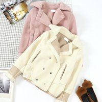 Wholesale double breasted high waist shorts - Lamb Wool Jacket Winter New Student Baseball Uniform Lapel Double Breasted Women Coats Short Overcoat Dophee